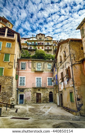 From the Village of Saorge, Alpes-Maritimes, Provence, France - stock photo