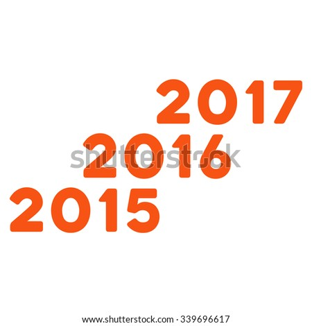 From 2016 To 2017 Years glyph icon. Style is flat symbol, orange color, rounded angles, white background.