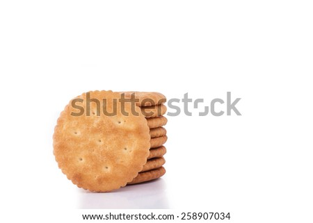 front and back Cracker cookies isolated on white - stock photo