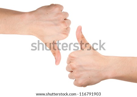 Front and back male hands showing thumbs up and down, isolated on white background