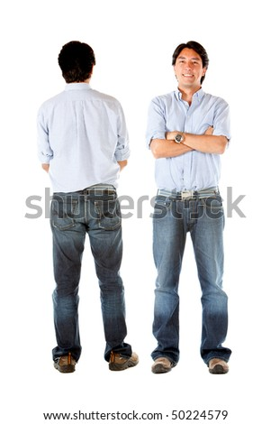 Front and back of a casual man standing isolated over white - stock photo