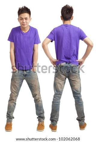 Front and back of asian young man standing isolated on white - stock photo