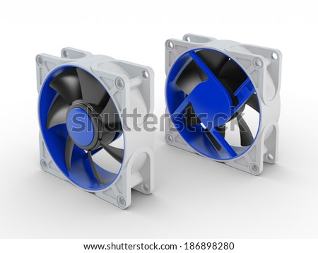 Front and back of computer performance cooling fan isolated on white background - stock photo