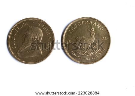 Front and Back of 1 oz Gold Bullion Krugerrand - stock photo