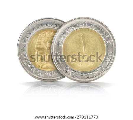 Front and Back Sides of One Egyptian Pound Closeup Isolated on White Background - stock photo