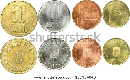 Front And Back Sides Of Romanian Coins Isolated On White - stock photo