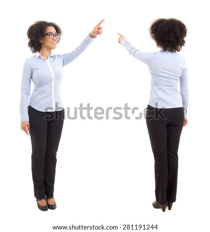 front and back view of african american business woman pointing at something isolated on white background - stock photo
