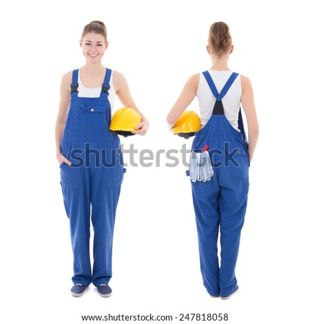 front and back view of young attractive woman builder in workwear isolated on white background - stock photo