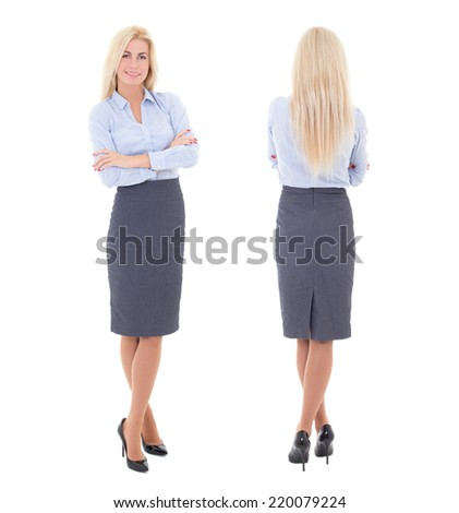 front and back view of young beautiful woman in business suit isolated on white background - stock photo