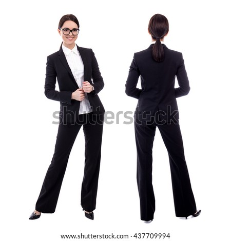 front and back view of young business woman isolated on white background - stock photo
