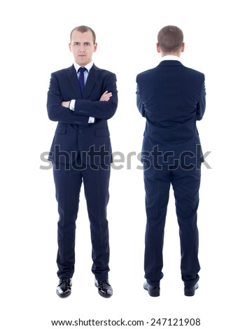 front and back view of young man in business suit isolated on white background - stock photo