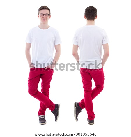 front and back view of young man standing isolated on white background - stock photo