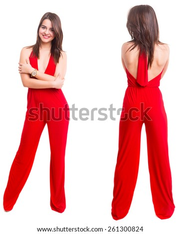 front and back view of young woman in red dress posing isolated on white - stock photo