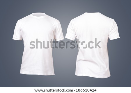 Front and back view white tshirt template for your design on dark background.