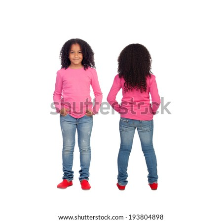 Front and back views of a beautiful African American girl isolated on a white background - stock photo