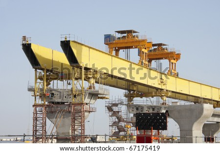 Front and rear pylon of a giant Launching Girder - stock photo