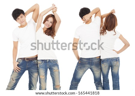 front and rear view happy couple with white t shirt - stock photo