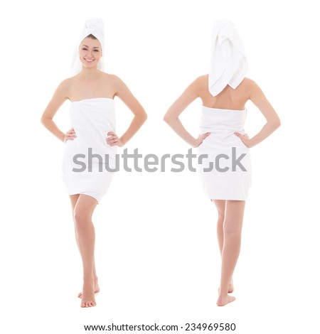 front and rear view of young beautiful woman wrapped in towel isolated on white background - full length - stock photo
