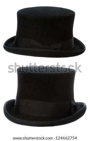 front and side view of a traditional felt top hat isolated on white background - stock photo