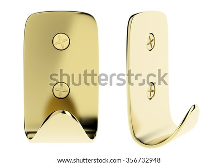 Front and side view of golden wall hook, isolated on white background - stock photo