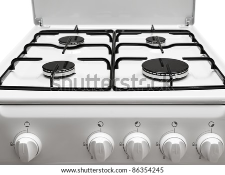 Front and top parts of the gas stove - stock photo