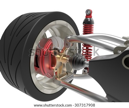 Front axle with suspension and sport gas absorbers isolated on white - stock photo