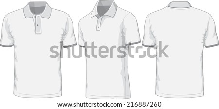 Front, back and side views of blank polo-shirt. Raster version - stock photo