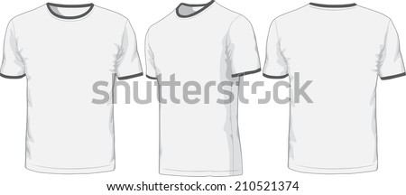 Front, back and side views of blank t-shirt. Raster version - stock photo
