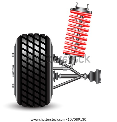 Front car suspension.  Illustration - stock photo