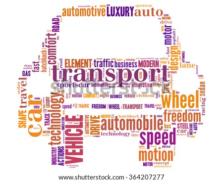 Front car, word cloud concept on white background.