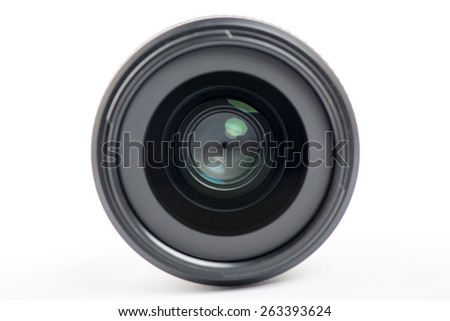 Front close-up of a camera lens on white background