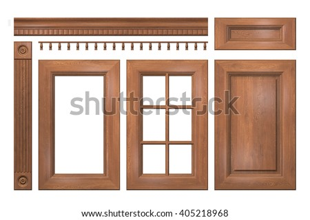 Front Collection Of Isolated Wooden Doors Drawer Column Cornice For Kitchen Cabinet