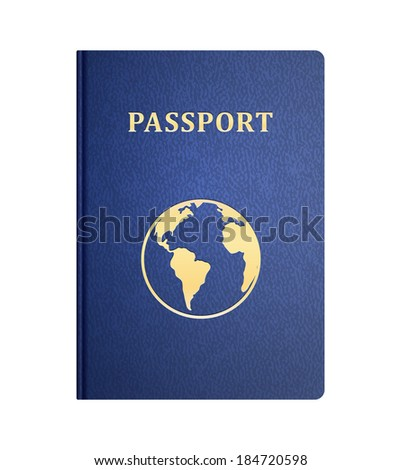front cover of passport Isolated on white - stock photo