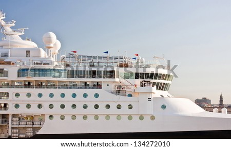 Front Detail of a cruise ship on a cloudy day - stock photo