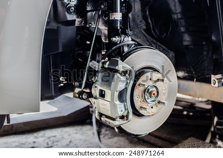 Front disc brake on car in process of new tire replacement. The rim is removed showing the front rotor and caliper - stock photo
