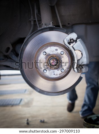 Front Disk brake assembly on a car
