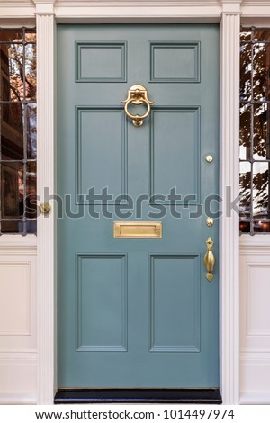 Front door, isolated, in the blue color family