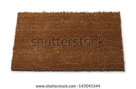 Front Door Mat with Copy Space Isolated on White Background. - stock photo