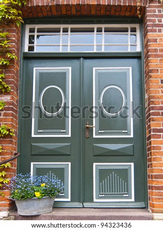 Front door of a historical german red brick house