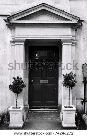 Front Door of a Luxury Georgian Town House in Bath England - stock photo