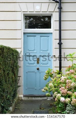 Front Door of an Attractive Georgian Era London Town House - stock photo