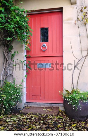 Front Door of an English Cottage - stock photo