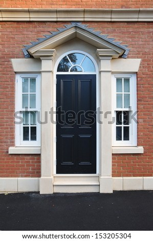 Front Door of an English Town House - stock photo