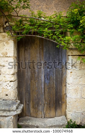 Front door of an old country house in France - stock photo