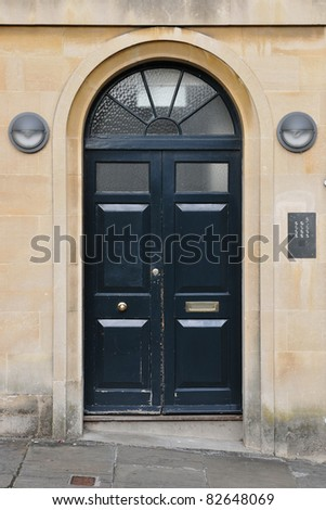 Front Door of an Upscale London Home - stock photo
