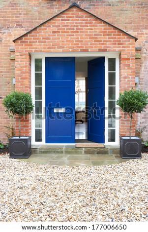 Front Door Of Modern House - stock photo