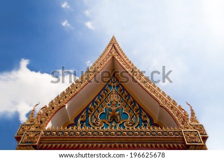 front door Thailand temple entrance - stock photo