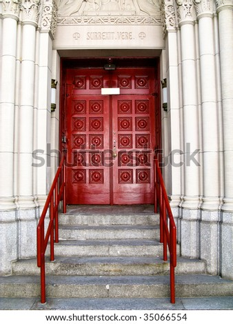 Front door to a church in America - stock photo