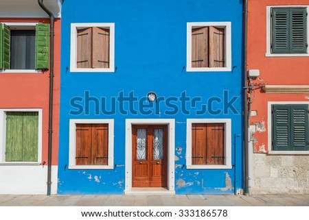 Front door to the house on venetian island Burano, Venice, Italy