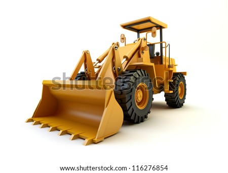 Front end loader isolated on white - stock photo